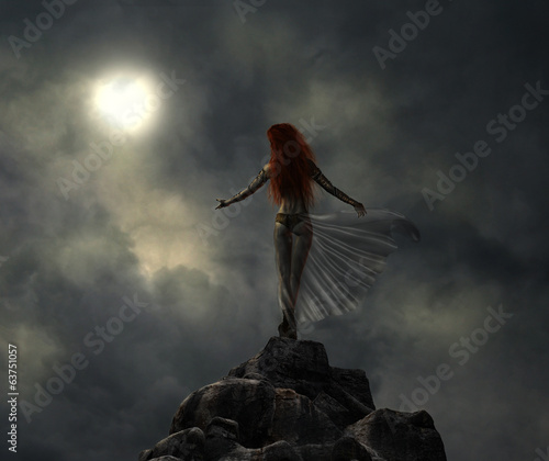 warrior woman in a stormy night