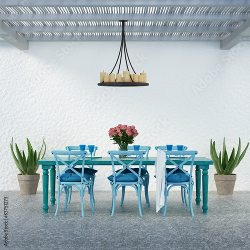 Fotobehang Tuin Aegean luxury beach hotel summer dining space