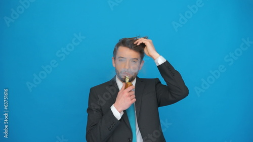 man smoking e-cigarette a pipe look a like with a loads of smoke