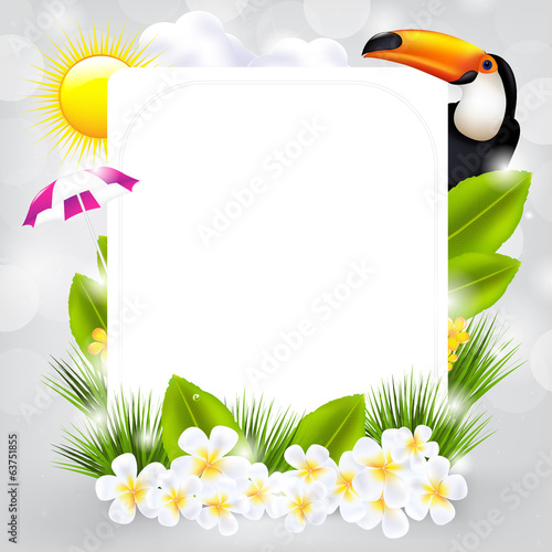 Card With Bird And Flowers