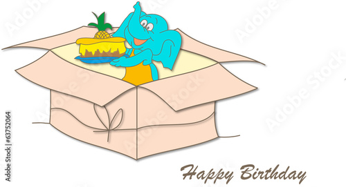 Happy Birthday / Elephant with cake in present box