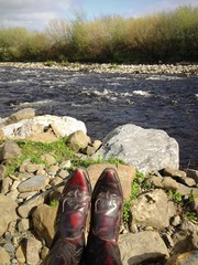 boots at the river