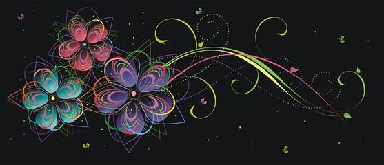 Абстрактные цветы на белом фоне