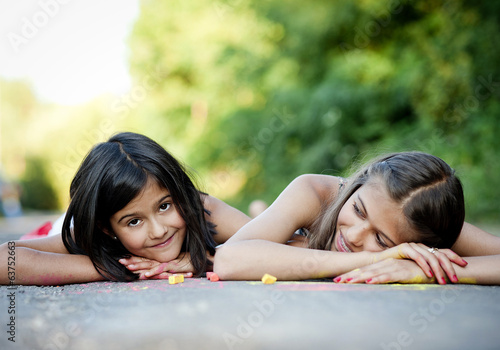 Two sisters having fun