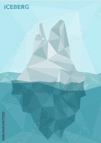 Stylized polygonal image of frozen iceberg