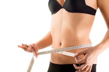 waist measurement of girl - isolated
