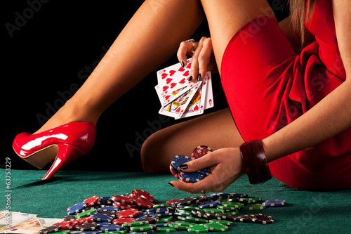 Sexy gambling woman