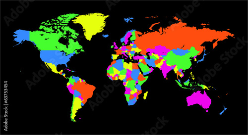 World Map funky colors3
