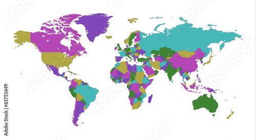 World Map color funky white