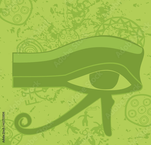 Grunge egyptian Eye of Horus , ancient deity, religious symbol,