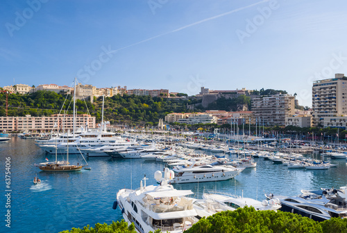 Luxery yachts in the Monte Carlo harbour, Monaco