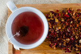 Deicious caffeine-free infusion of dried fruit, acai and goji be poster