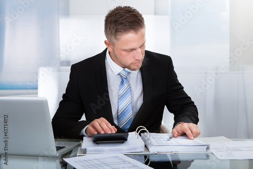 Hardworking businessman analyzing a report