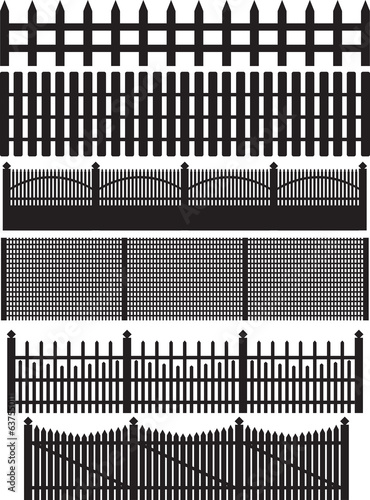 Fence collection illustrated on white background