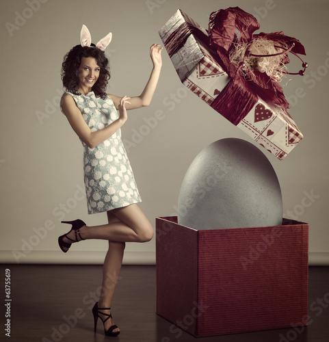 smiling woman with easter big box
