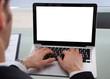 Cropped Image Of Businessman Using Laptop At Desk