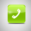 Glass Phone Button Icon Vector Illustration