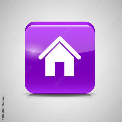 Glass Home Button Icon . Vector Illustration