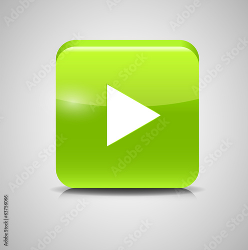 Glass Button Media Icon. Vector Illustration