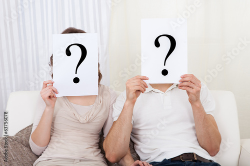 Couple with question marks