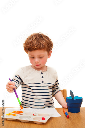Toddler painting isolated