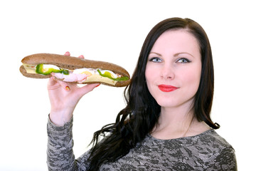 woman with sandwich