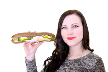 Woman holding sandwich