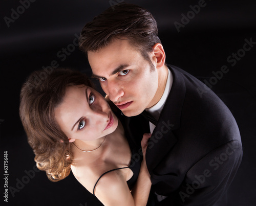 Overhead View Of Couple Kissing