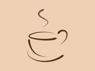 Coffee Cup Sketch Logo Template