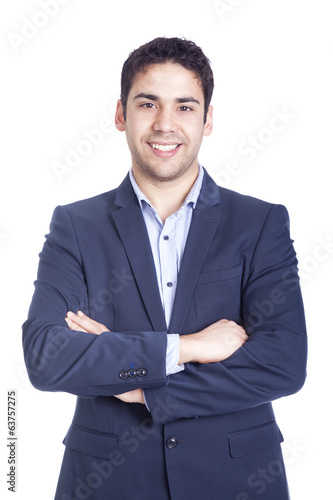 Portrait of a handsome business man, isolated on white
