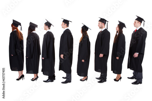 Graduate students standing in queue