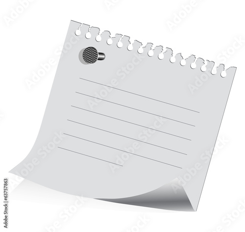 sheet of paper on on a white background