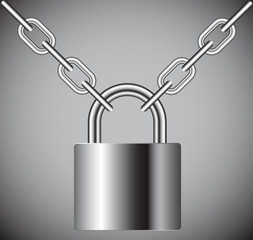 lock on a chain on a gray background