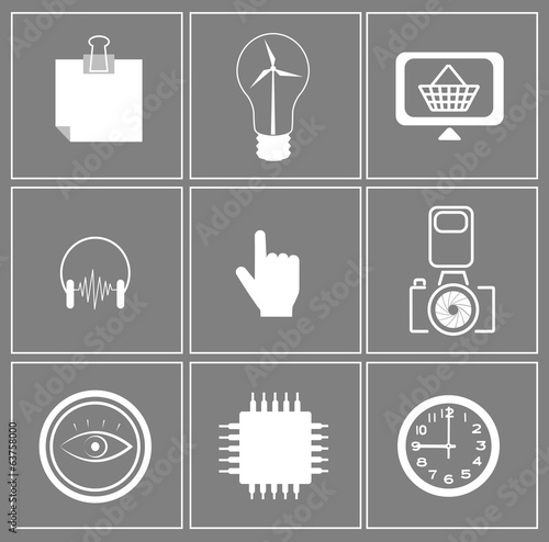 set of web icons on gray background