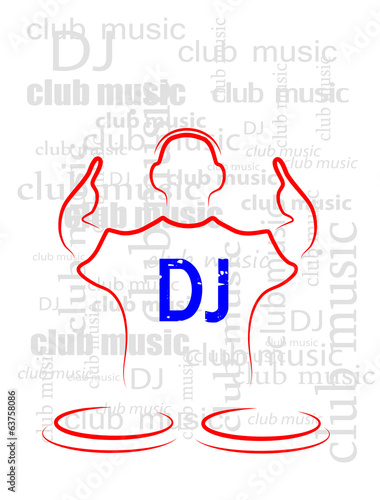 silhouette of the DJ on a seamless background from the text