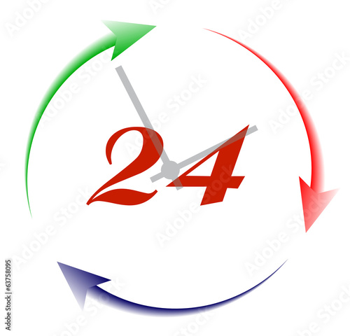 24 hours per day the symbol for design is isolated on a white ba
