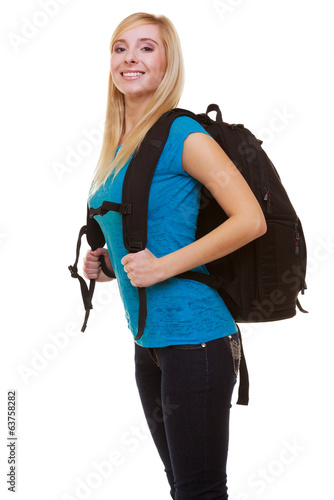 Portrait casual girl female student with bag backpack isolated