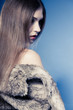 Portrait of girl with long hair. woman in fur coat on blue.