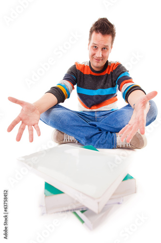 male student with pile of books preparing for exam isolated