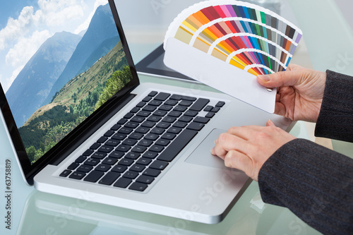 Photo Editor With Color Swatches Working On Laptop