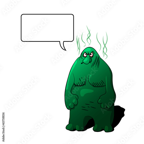 Big cartoon troll. Vector clip art illustration.