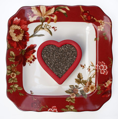 Floral Plate with Chia Seed Heart