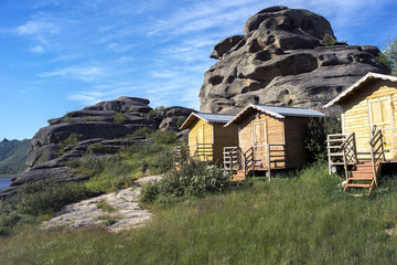 Tourist houses among rocks
