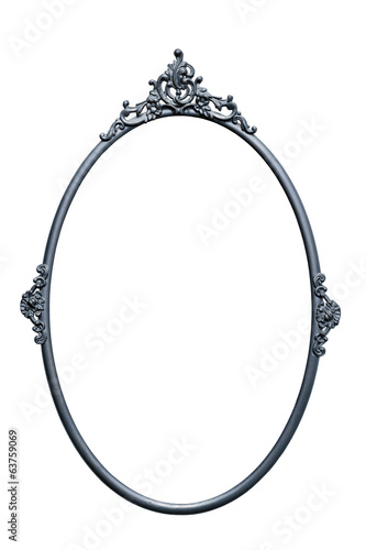 Retro mirror frame, metallic color, isolated on white