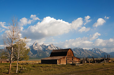 Grand Tetons and Log Cabin