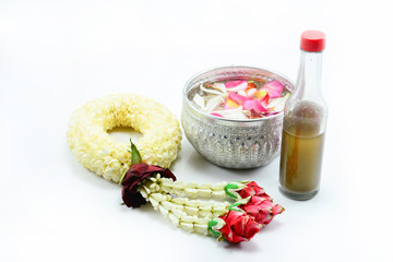 Thai garland Flowers and Water with jasmine and roses