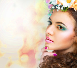 girl with stylish makeup and flowers postcard