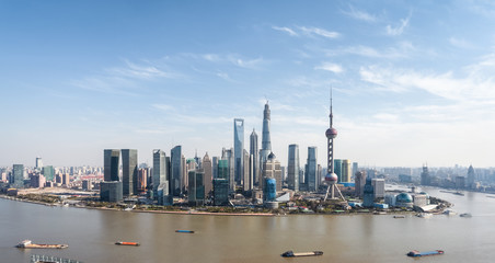 aerial view of shanghai lujiazui panorama