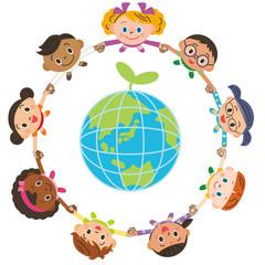 手を繋ぐ子供達 環境 エコ