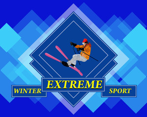 Adventure Winter Sport.Freestyle Skiing.Extreme Skiing.Vector